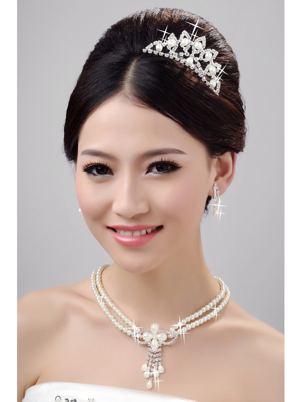 Fashion Alloy Clear Kristalles Wedding Party Earrings Set