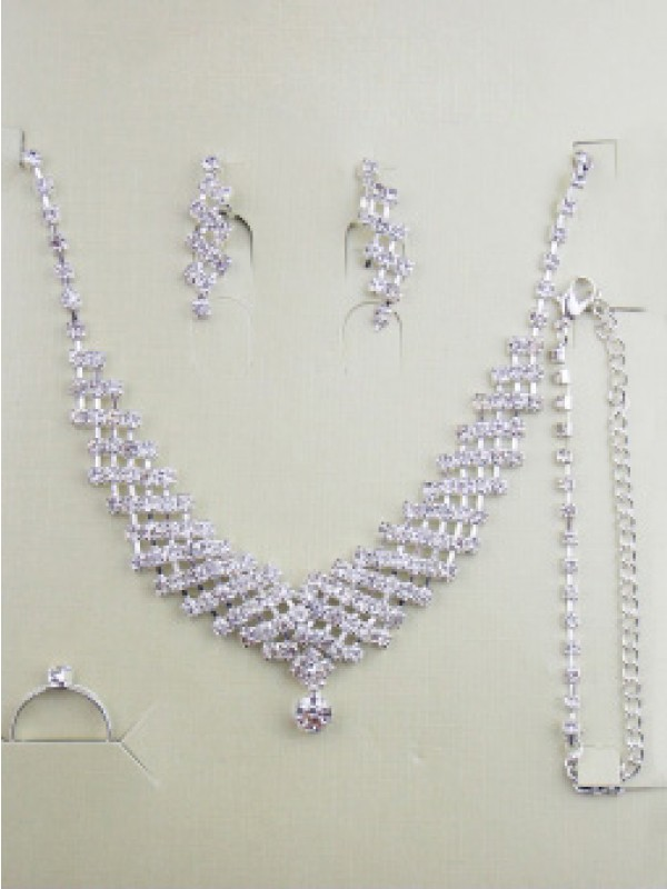 Gorgeous Alloy With Strasssteine Wedding Bridal Juwel-Ausschnittry Set