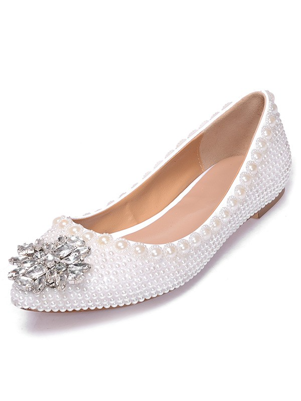 Patent Leather Closed Toe Flat Heel With Pearl Strasssteine Casual Flat Shoes