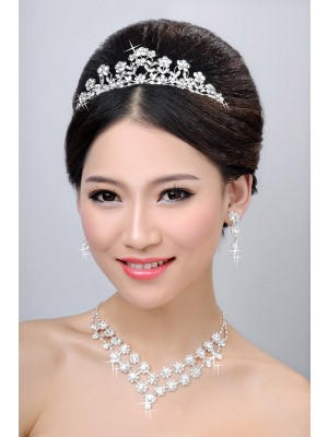 New Style Alloy Clear Kristalles Flower Wedding Party Earrings Set