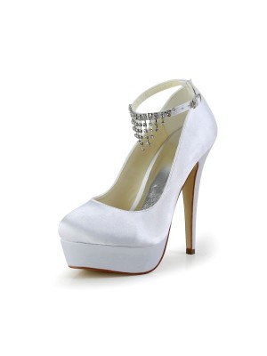 Nice Satin Stiletto Heel Closed Toe With Strasssteine Weip Wedding Shoes