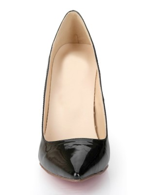 Schwarz Patent Leather Closed Toe Stiletto Heel Office High Heels