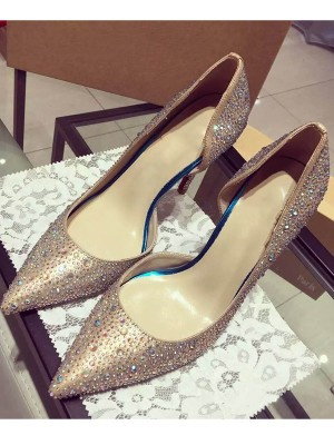 Satin Closed Toe Cone Heel With Strasssteine High Heels